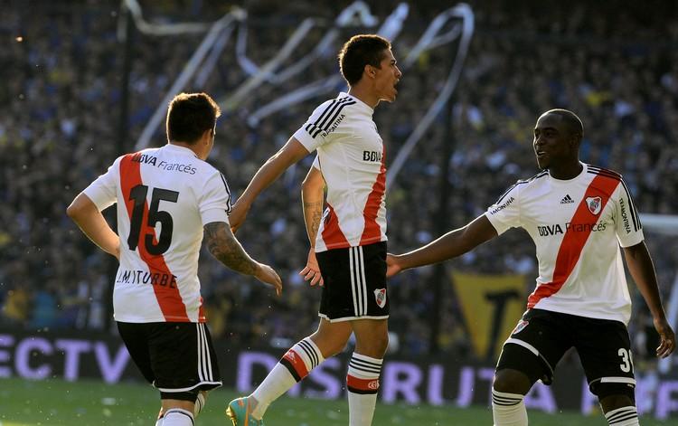 Manu Lanzini celebra el tempranero gol de River (Foto: Diario Olé)