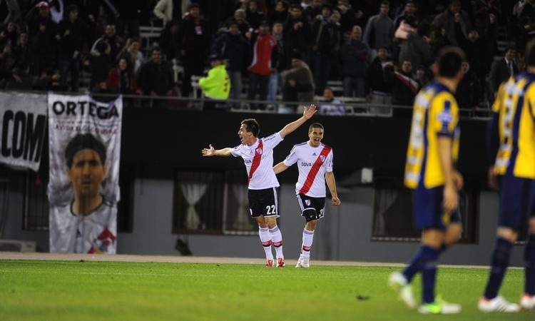 Andrada festeja su primero gol en Primera con la camiseta de River (FOTO: Diario Olé)